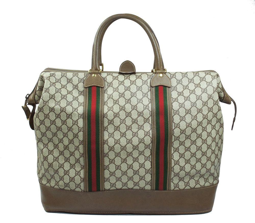 6cc60e0bdbc Vintage GUCCI Brown Duffel Travel Boston Purse Bag Suitcase Carry On Luggage   Gucci