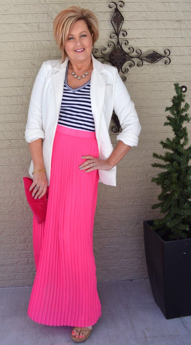 50 Is Not Old Dresses for over 40 Maxi Skirt Stripes