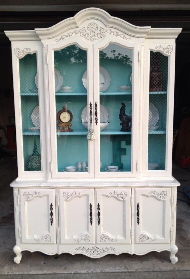 Chalk Painted Breakfront With Contrasting Interior Furniture Shabby Chic Furniture China Cabinet