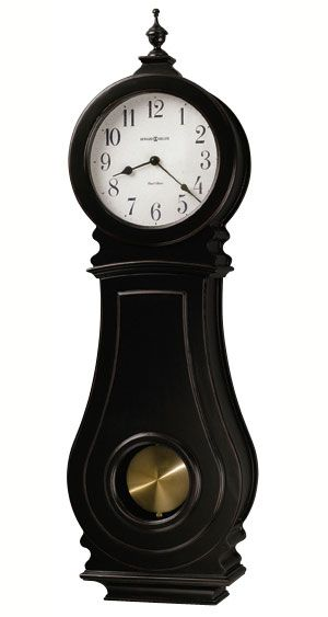 howard miller dorchester black chiming wall clock this worn black wall clock features