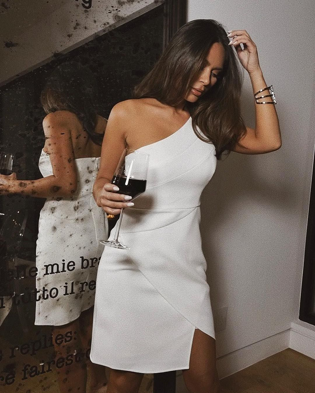 570b5f44522 The red to our white.  marianna hewitt in the Aryanna One Shoulder Dress at   BCBGfriendsgiving.  bcbgmaxazria