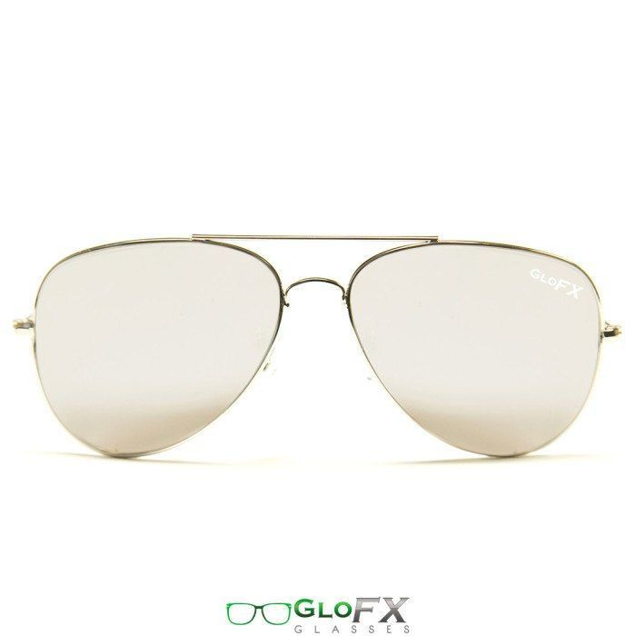 GloFX Metal Pilot Aviator Style Diffraction Glasses – Silver Mirror Limited