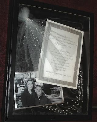 Wedding Gift - Put announcement with picture and wedding colours incorporated into a frame.