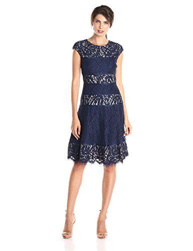 ef713cb31d1e Alex Evenings Women's T-Length Cap Sleeve Lace Dress with Full Skirt, Navy,