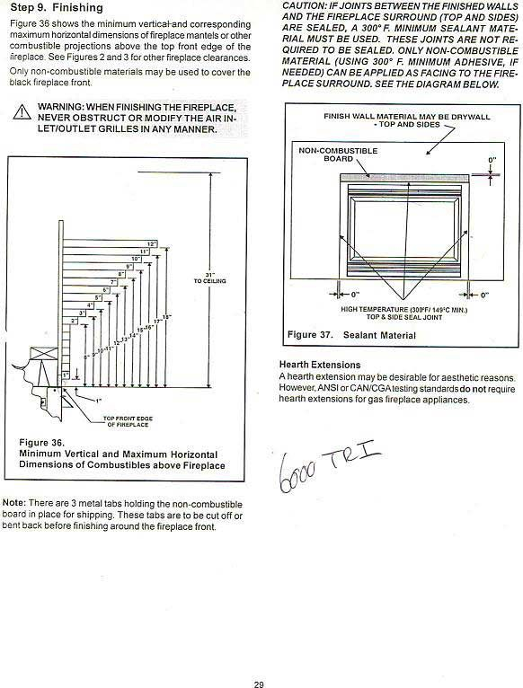 Minimum clearance for fireplace mantel