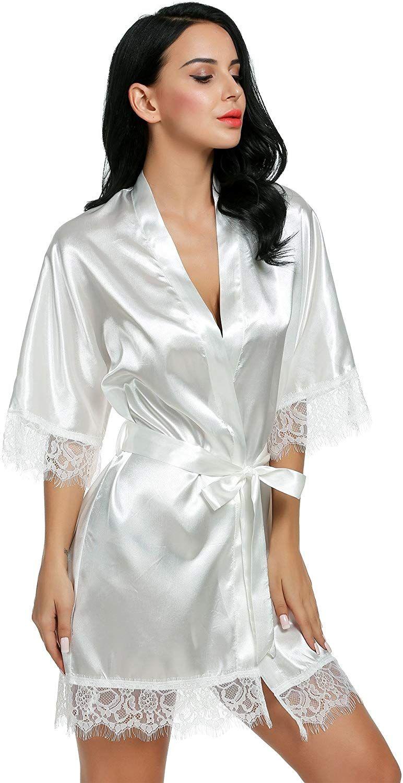 0a2254861cc38 Avidlove Chemise de Nuit Femmes Sexy Robe de Nuit Manches Longues Peignoir  Satin Taille S-