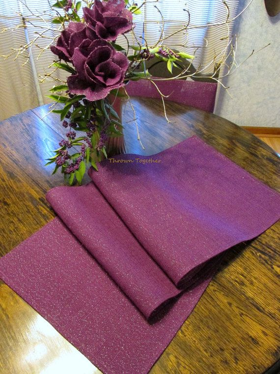 Plum Burlap Table Runner Plum Purple Burlap By ThrownTogether