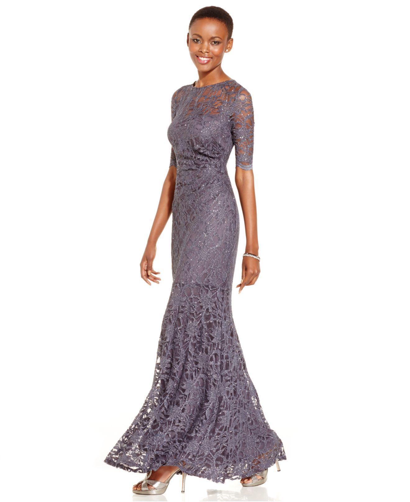 Xscape petite glitter lace mermaid gown in gray steel special