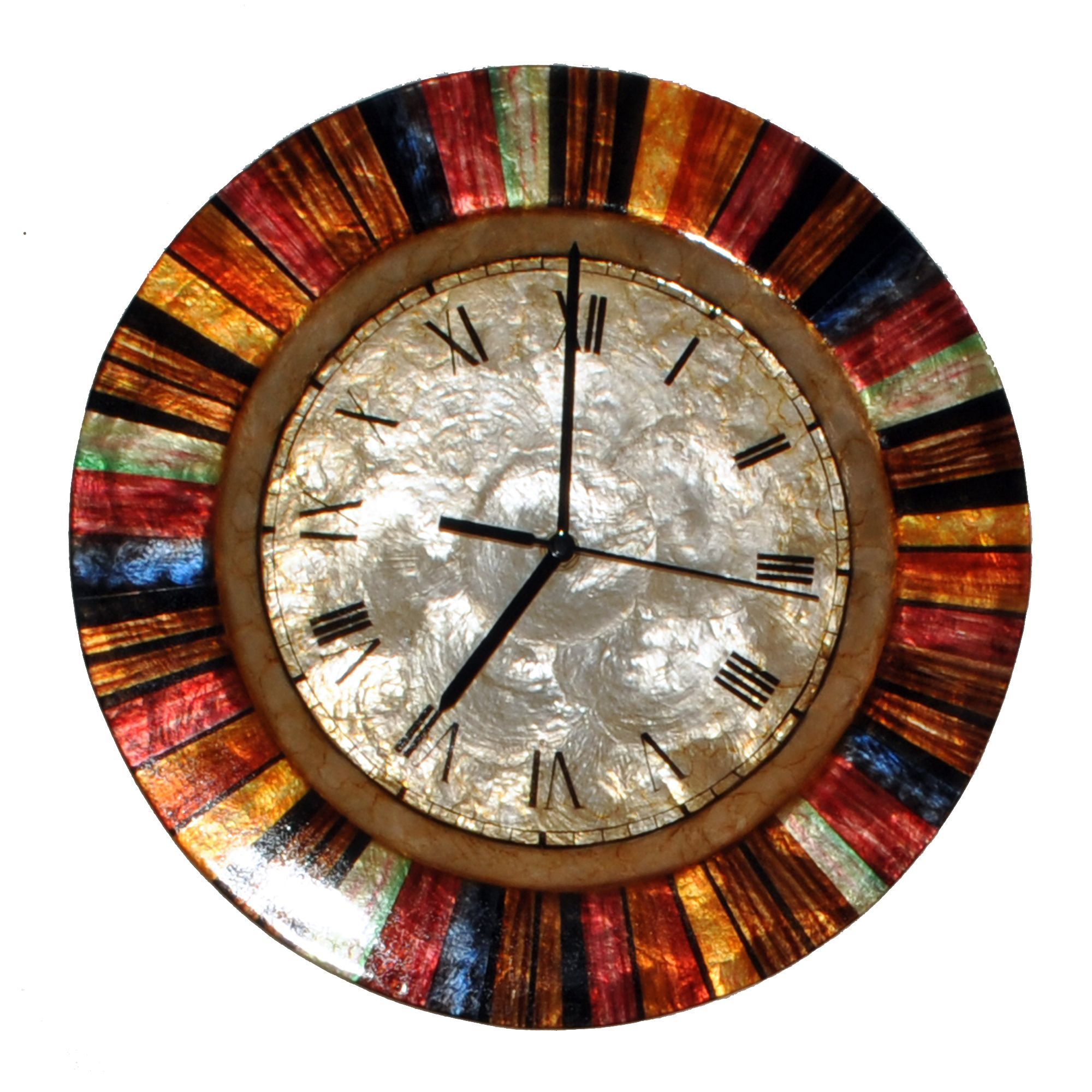 Handmade Clock Multicolor (Wall Art), Brown(Metal