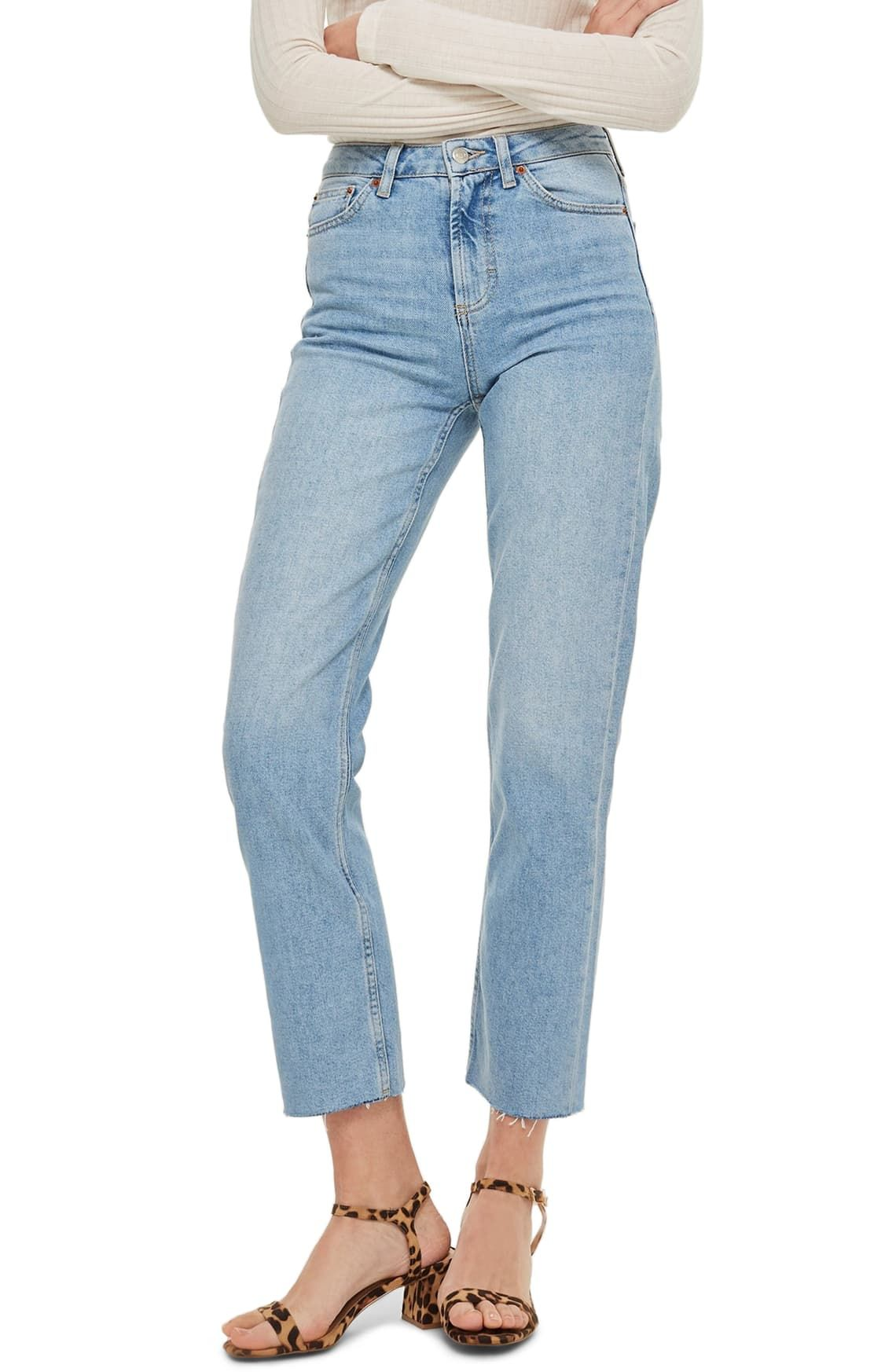 High waist raw hem straight leg jeans in 2020