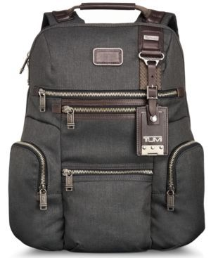 Tumi Bag, Alpha Bravo Knox Backpack (742315930763) This versatile, casual backpack design works for business, school, commuting and travel. Its tall, roomy main compartment has a separate compartment for papers or files. Features numerous organizer pockets; backpack straps have D-rings for attachments. From Tumi.