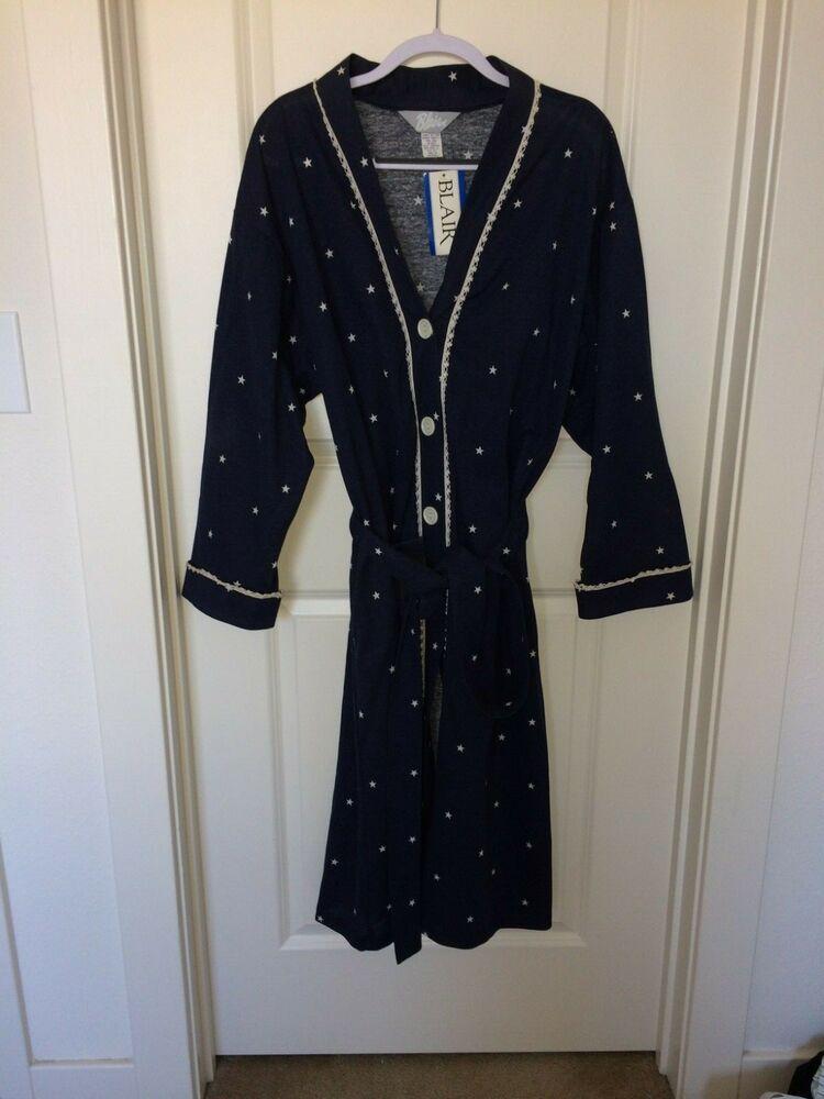 ba4d91d10a7f9 BLAIR Navy Blue Robe w/ White Stars, Button Down, ~Mid-Calf NWT XLG #Blair # Robes #Everyday