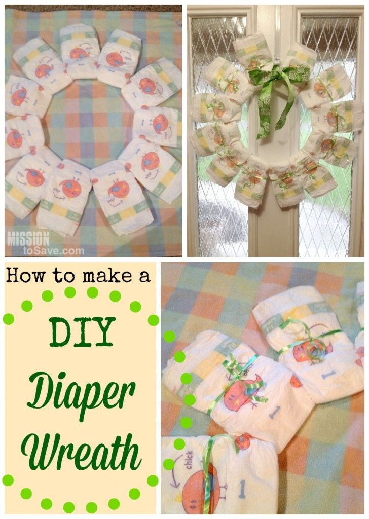DIY Diaper Wreath To Welcome Baby Home