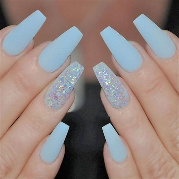 32 Stunning and Trendy Matte Coffin Nails Design Blue