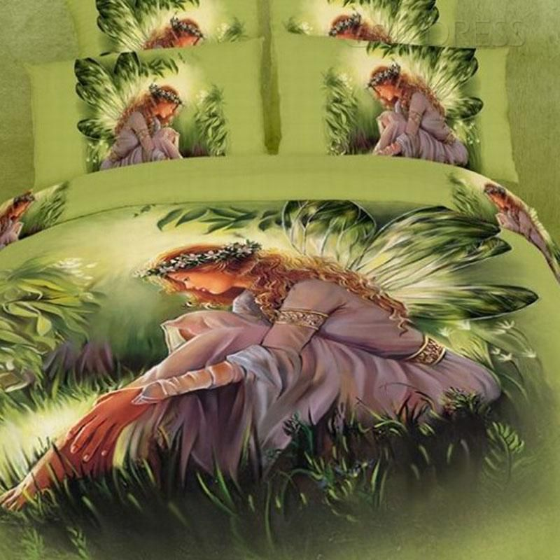 3d Painting Butterfly Girl Cotton 4 Piece Queen Size Duvet Covers