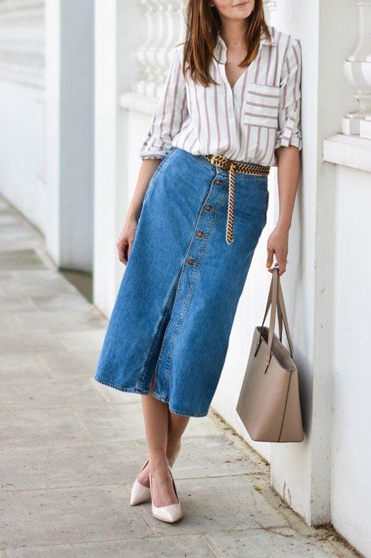 eb2056bf03f 8 Ways to Wear a Denim Skirt Like a Grown-up via  PureWow