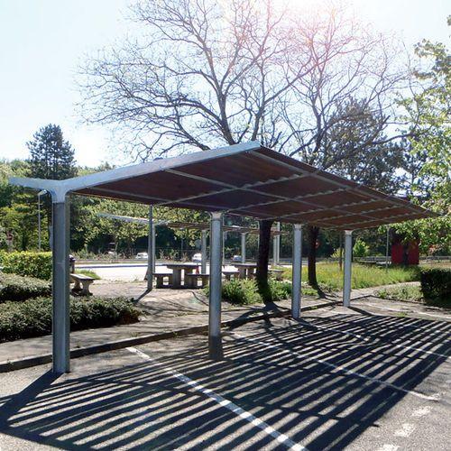 Abri de voiture en acier en bois usage professionnel for Progetto gazebo in legno pdf