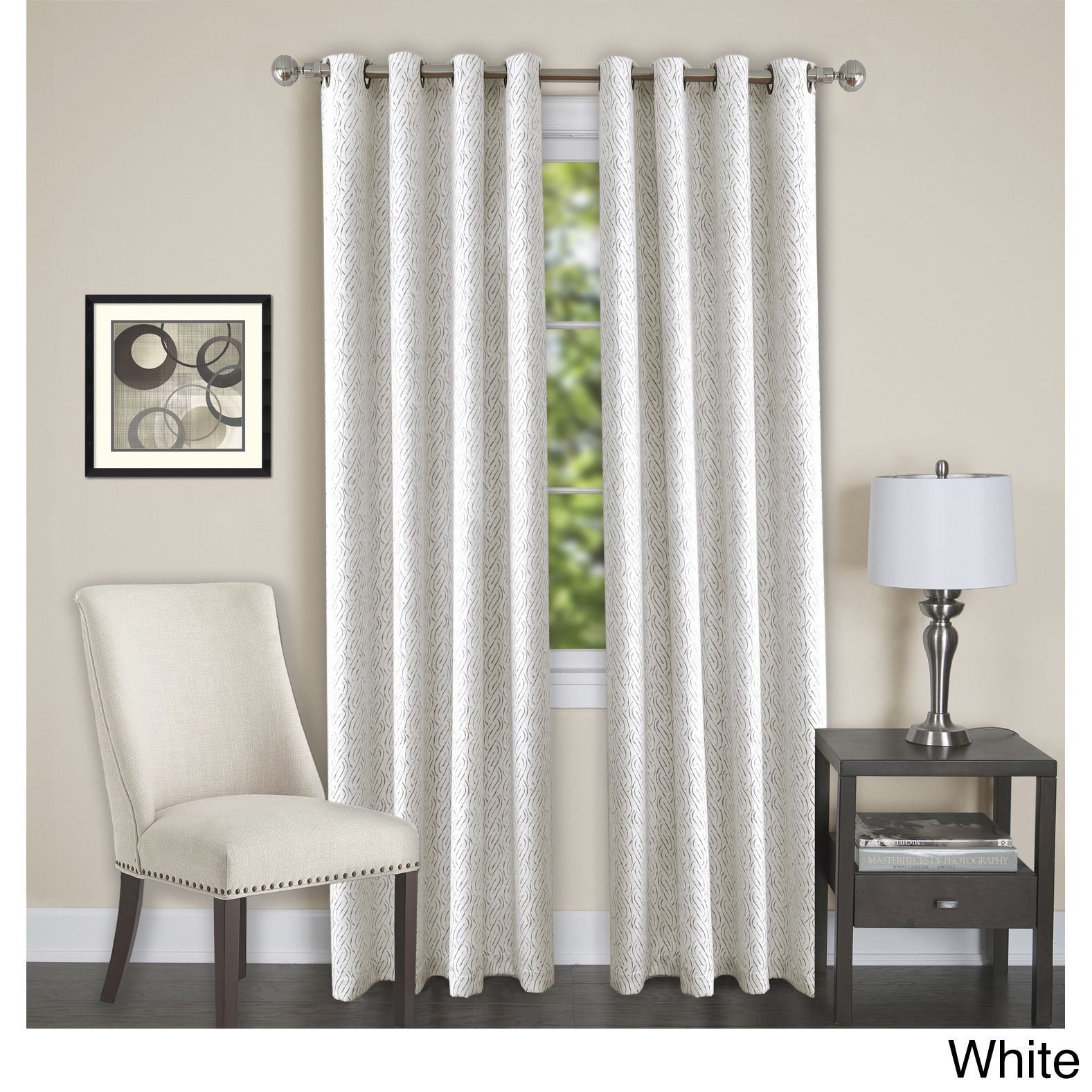 Achim Jensen 8 Grommet Blackout Window Curtain Panel White