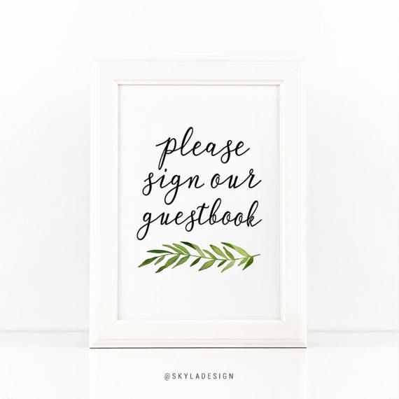 Printable Guestbook Sign Green Leaves Wedding Sign Printable Party