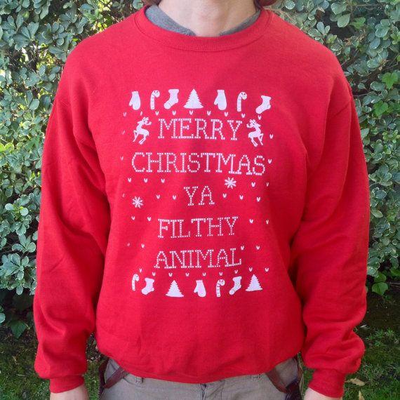Ugly Christmas Sweater MERRY CHRISTMAS Ya filthy animal! Home alone ...