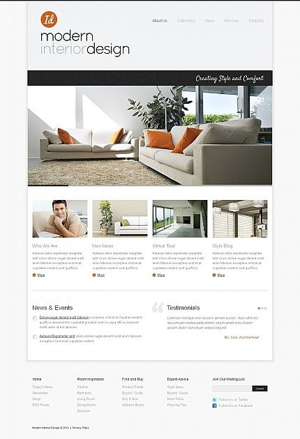 Moto CMS HTML Theme #50574 Interior Design Themes, Modern Interior Design,  Facebook Layout