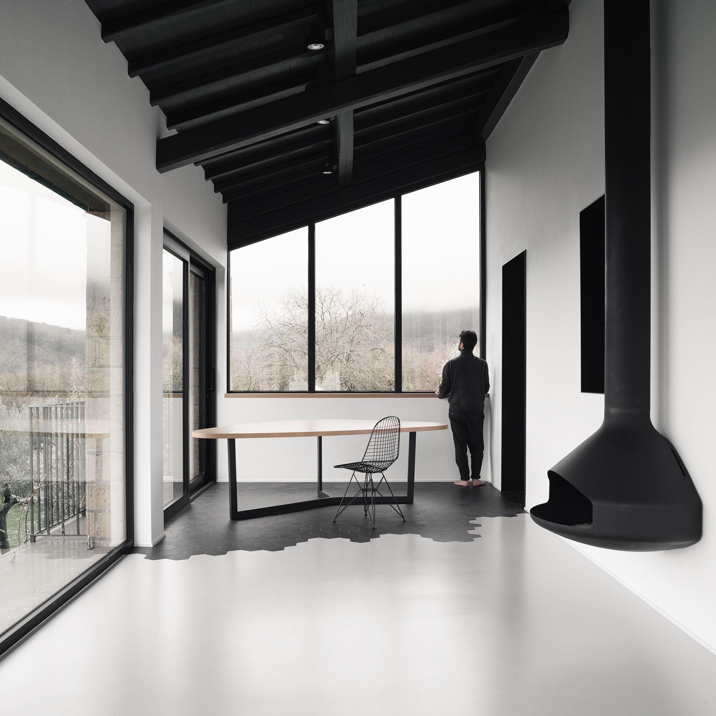Monochrome Materials Define Living Spaces Inside Converted Italian  Farmhouse Architecture Office Deltastudio Used A Palette Of