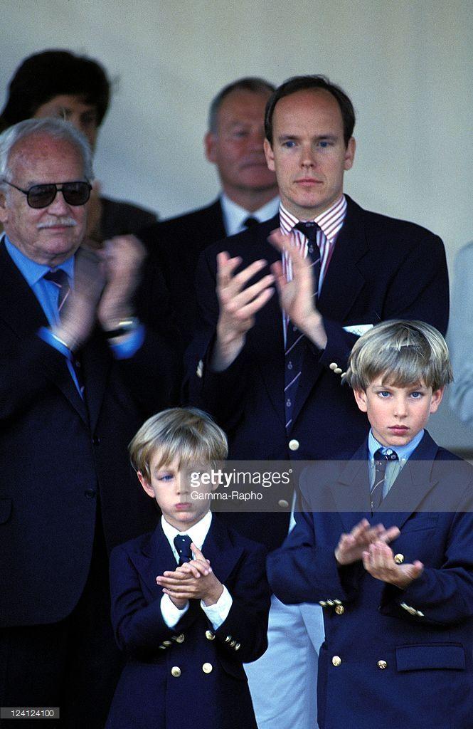 The Family of Monaco at Formula 1 Grand Prize In Monaco city, Monaco On May 23, 1993 - Prince Rainier, Pierre, Prince Albert, Andrea.