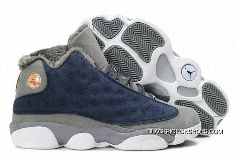 c0b17ae549067 Air Jordan 13 Fur White Grey Blue New Release