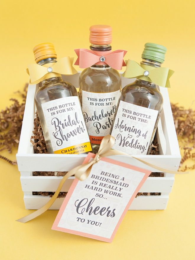 the most adorable diy mini wine bottle bridesmaid gift ever