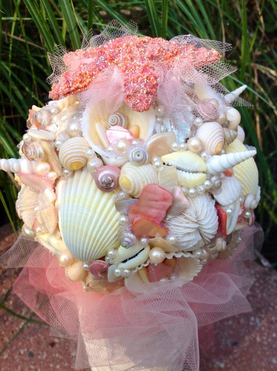 Beach Wedding Sea Shell Bouquet Salmon Pink Starfish Destination