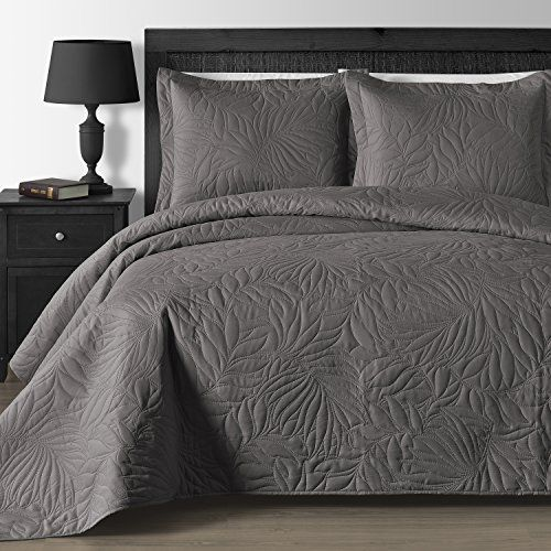 This Leafage Pattern Embossed 3 Piece Coverlet Set Matches Frame Jacquard 5 Piece Comforter Set Sleep Without Any Cleaning Coverlet Set Comfy Bed Bed Spreads