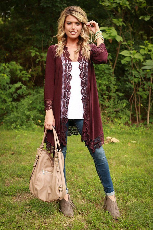 Life and Laughter Crochet Trim Cardigan in Wine | Laughter, Wine ...