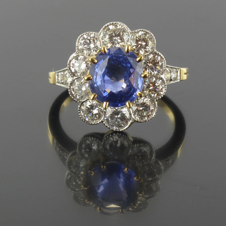 Blue Sapphire Diamond Gold Platinum Ring Gold platinum Platinum