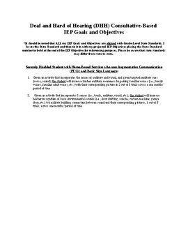deaf and hard of hearing dhh consultative based iep objectives