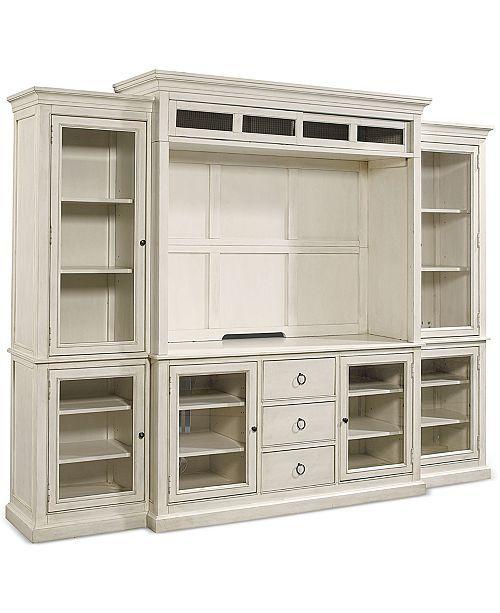 Sag Harbor White 4 Pc Wall Unit 2 Bookcases