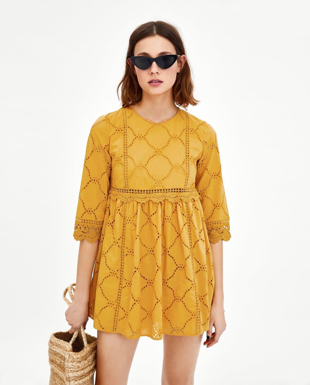 d71637953706 Cutwork Embroidery · VESTIDO MONO BORDADO PERFORADO Zara Dresses