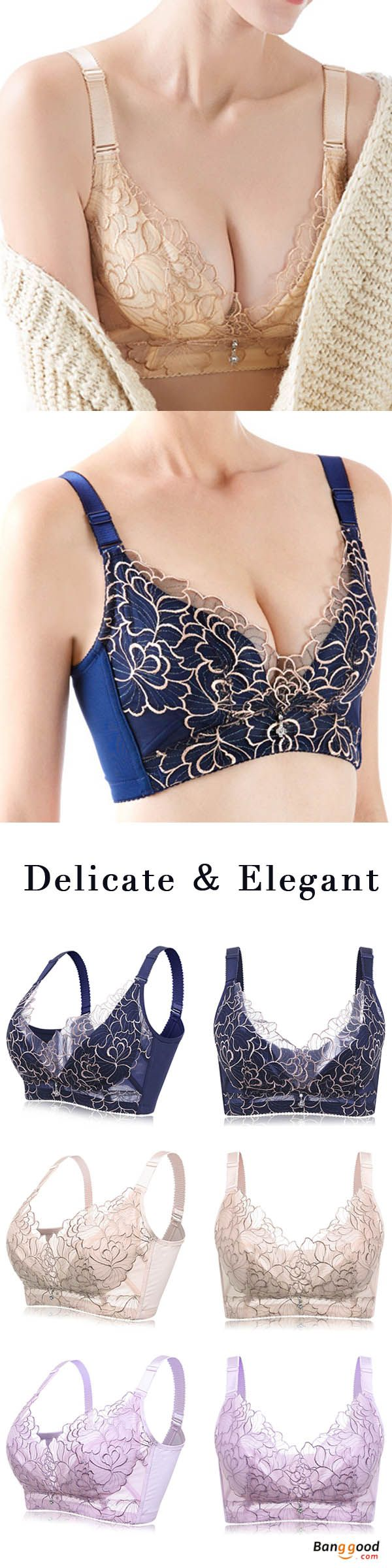 plus size b-f cup sexy lace wireless push up thin breathable bra