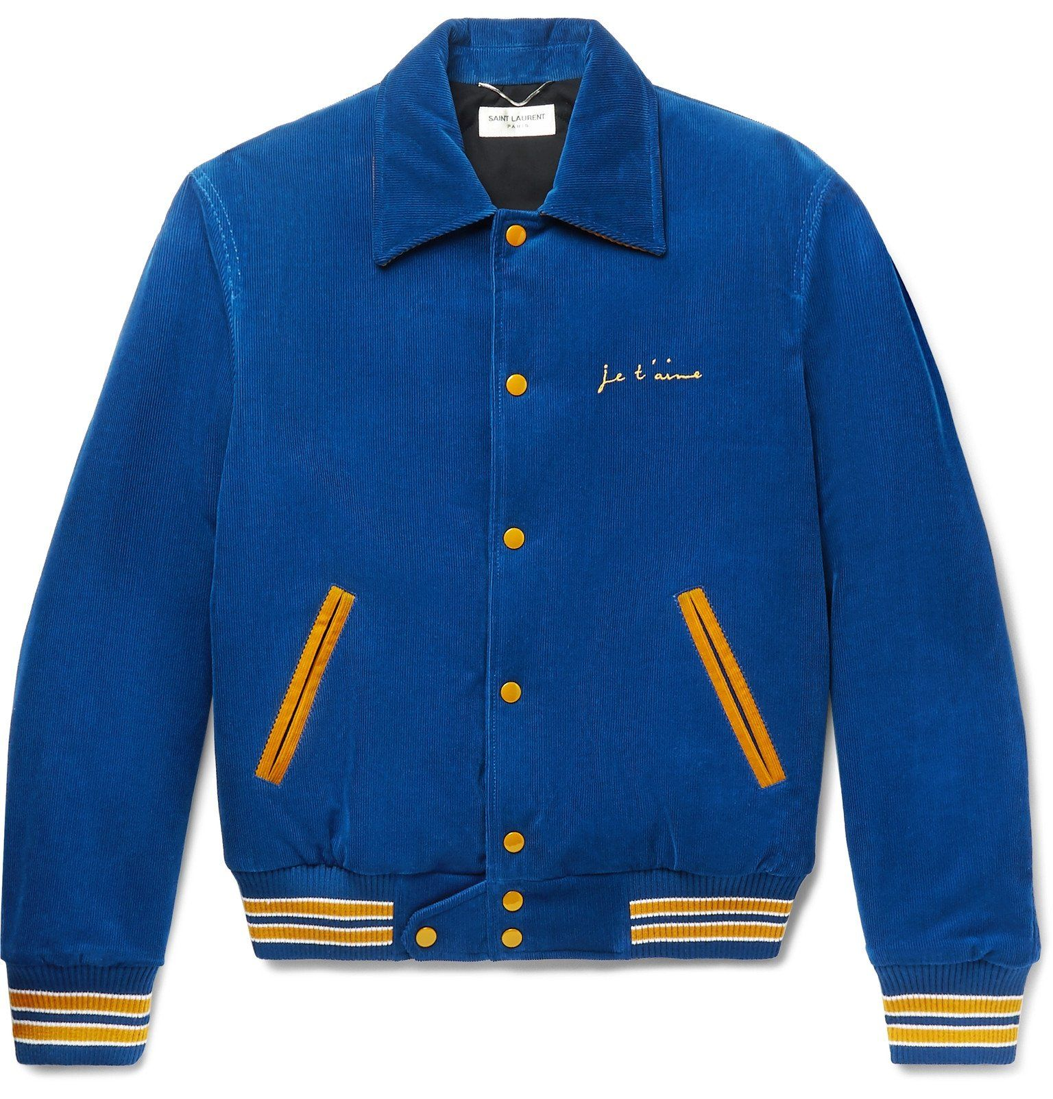 Vintage Corduroy Blue Bomber Jacket By Saint Laurent Mens Jackets Mens Outfits Blue Bomber Jacket