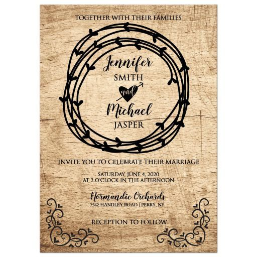 Outdoor Themed Wedding Invitations: Rustic Heart Primative Western Wedding Invitation / Barn