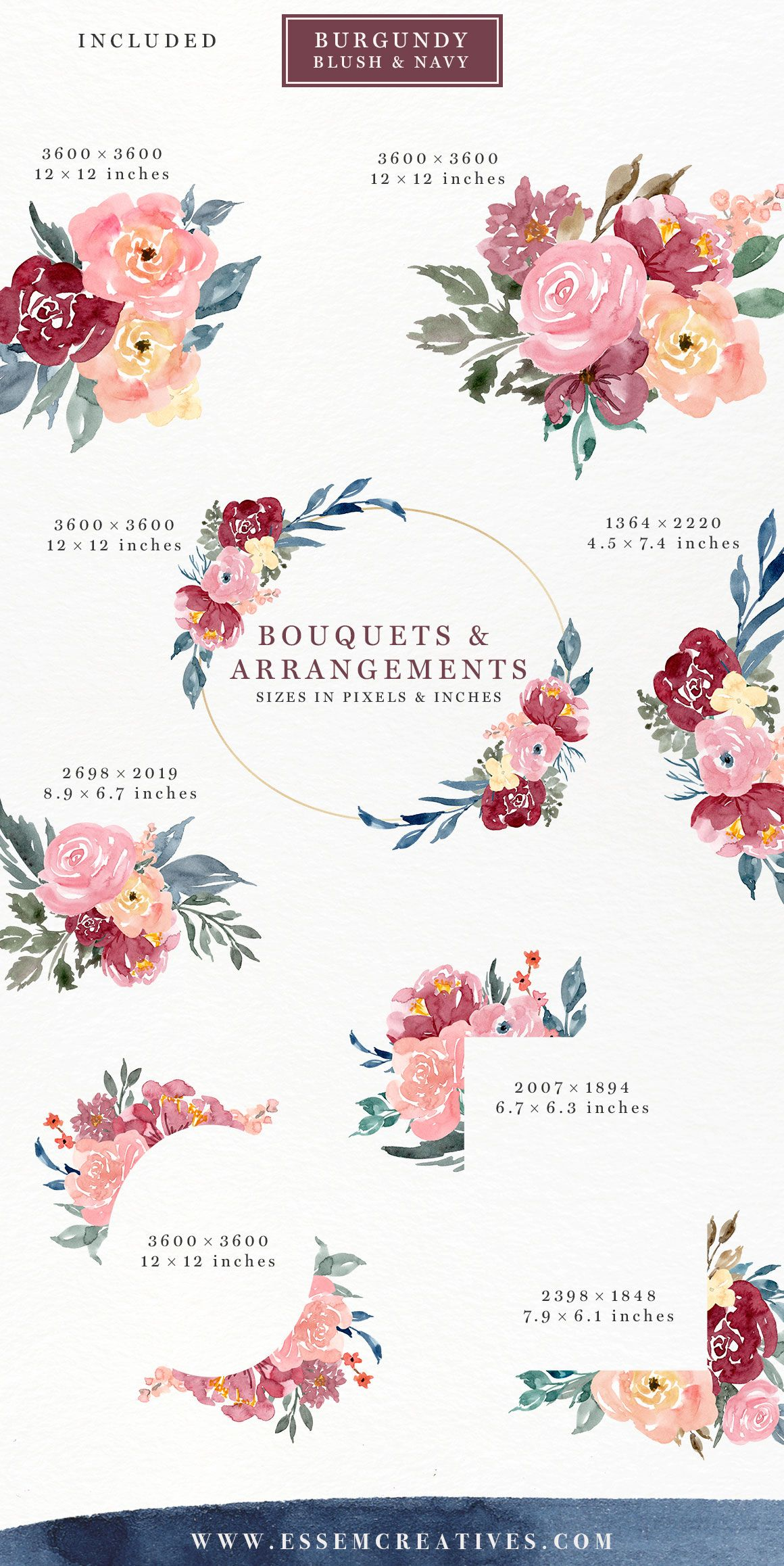 Burgundy Blush Navy Floral Watercolor Bouquets Borders Corners