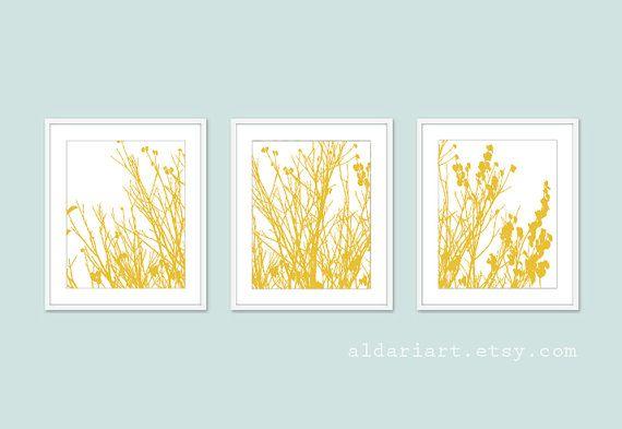 Modern Autumn Branches Set - Autumn Tree Wall Art - Mustard Yellow ...