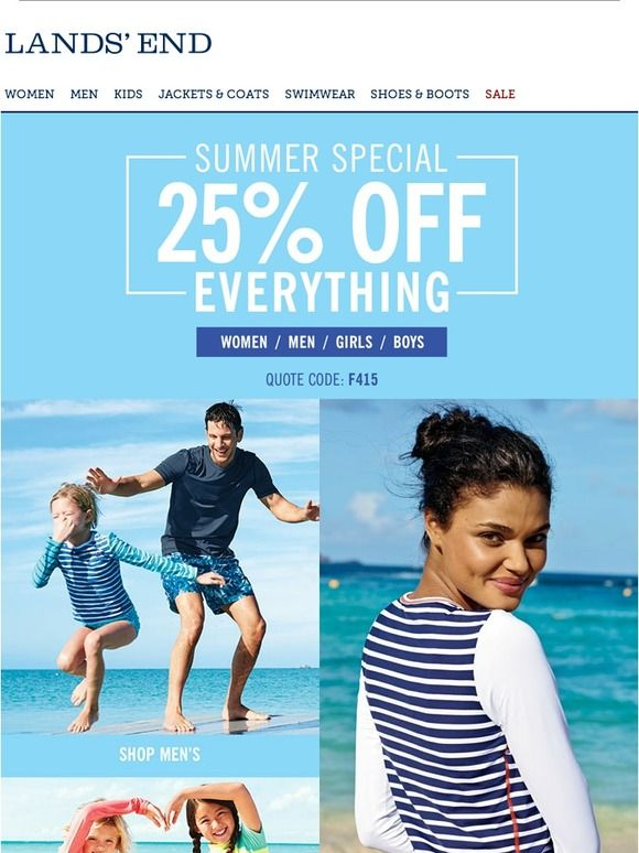 a53abb7935 Let's make summer special: 25% off everything! - Lands End   Email ...