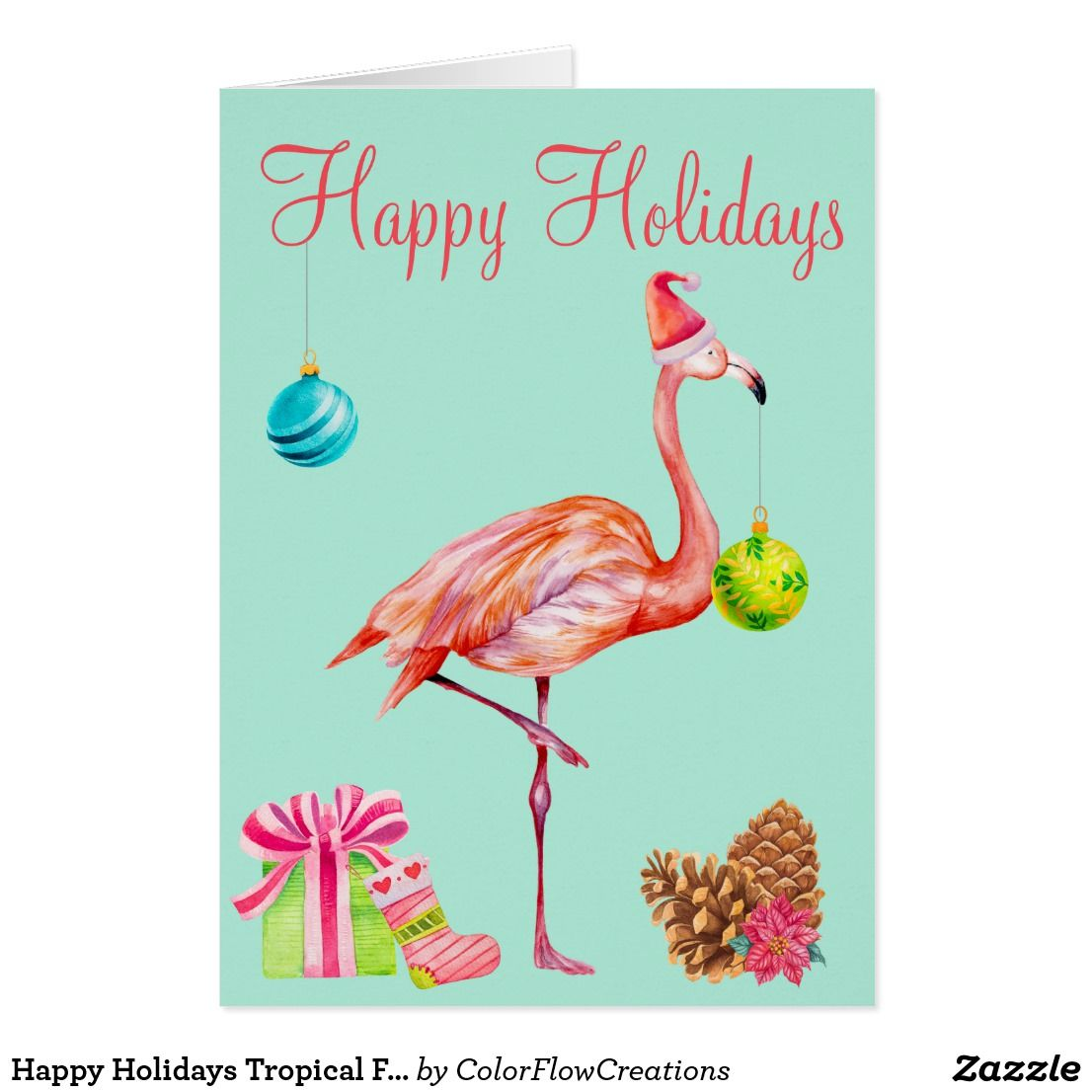 Watercolour Flamingo Modern Customised Christmas Card