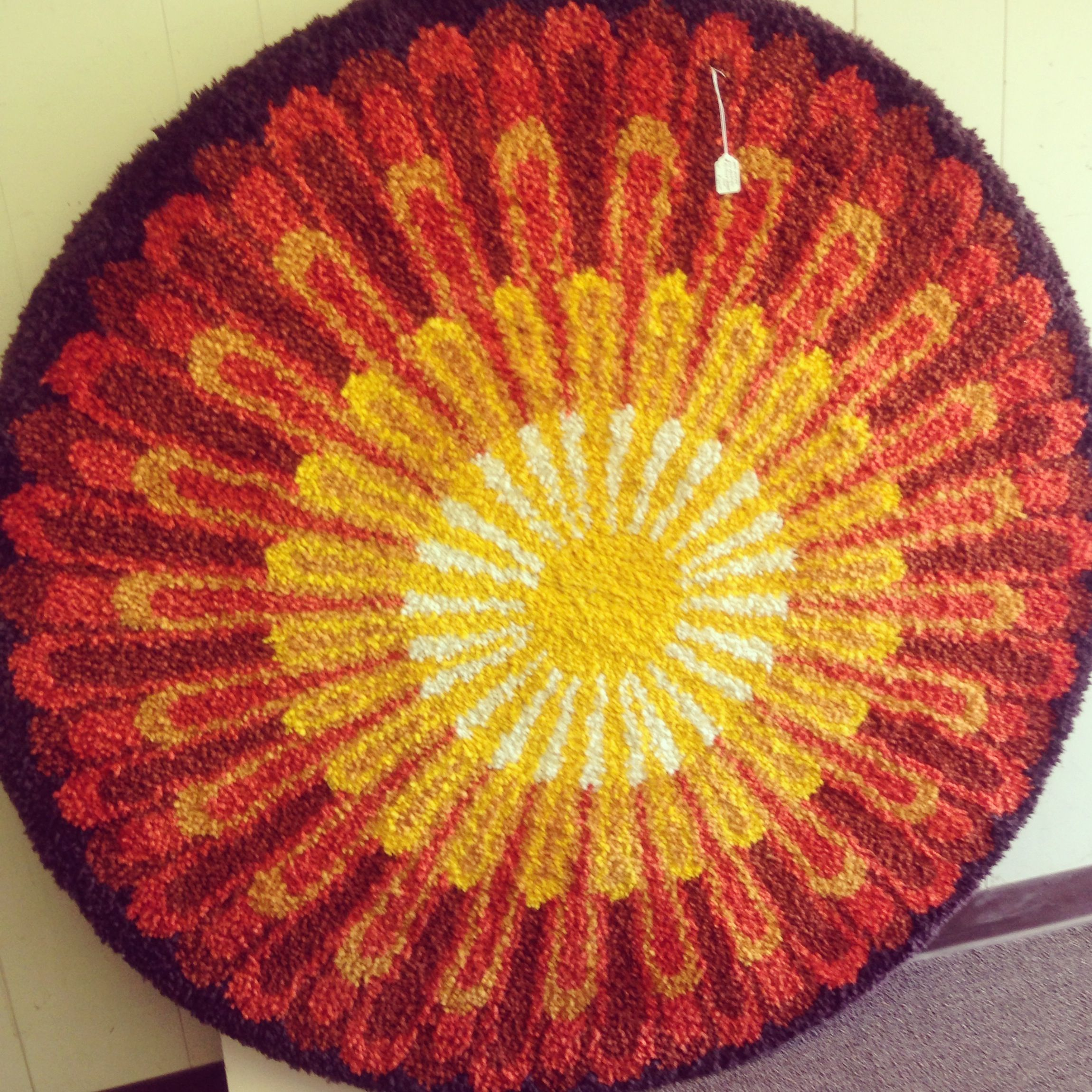 Hand hooked vintage wall hanging. Sunburst with warm golds and reds ...