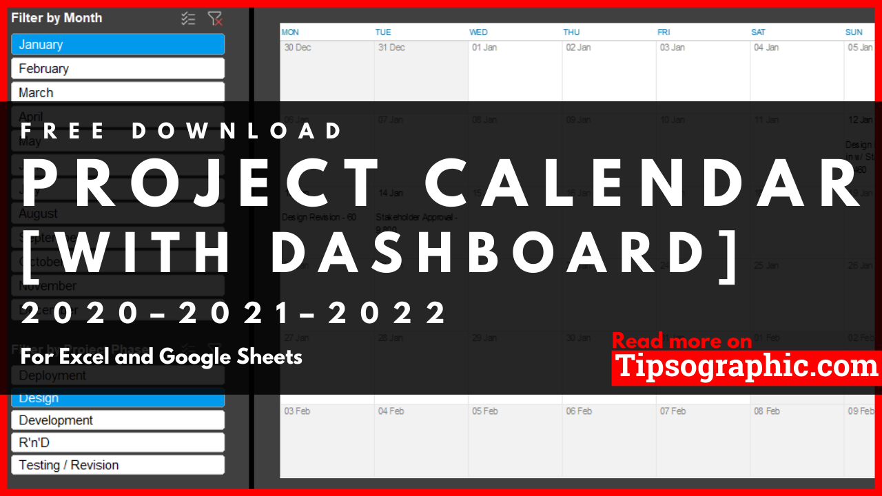 Nanowrimo Calendar 2022.Project Calendar Template For Excel With Dashboard Free Download 2020 2021 2022 Tipsographic