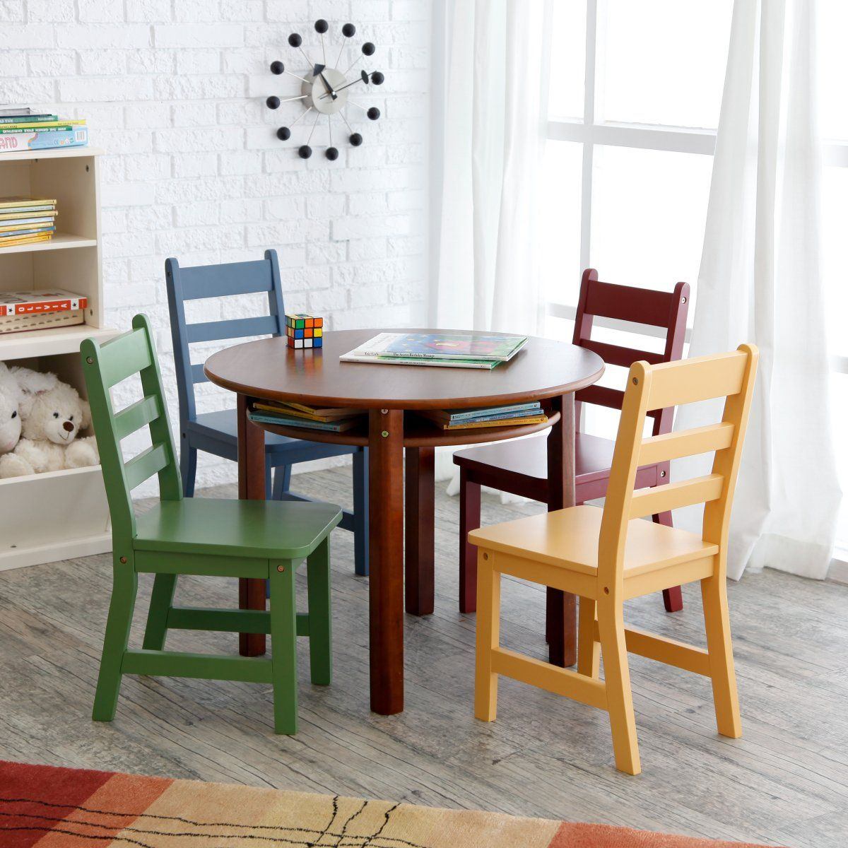 Lipper Childrens Walnut Round Table And 4 Chairs   Childrens Table And  Chair Sets At Childrens