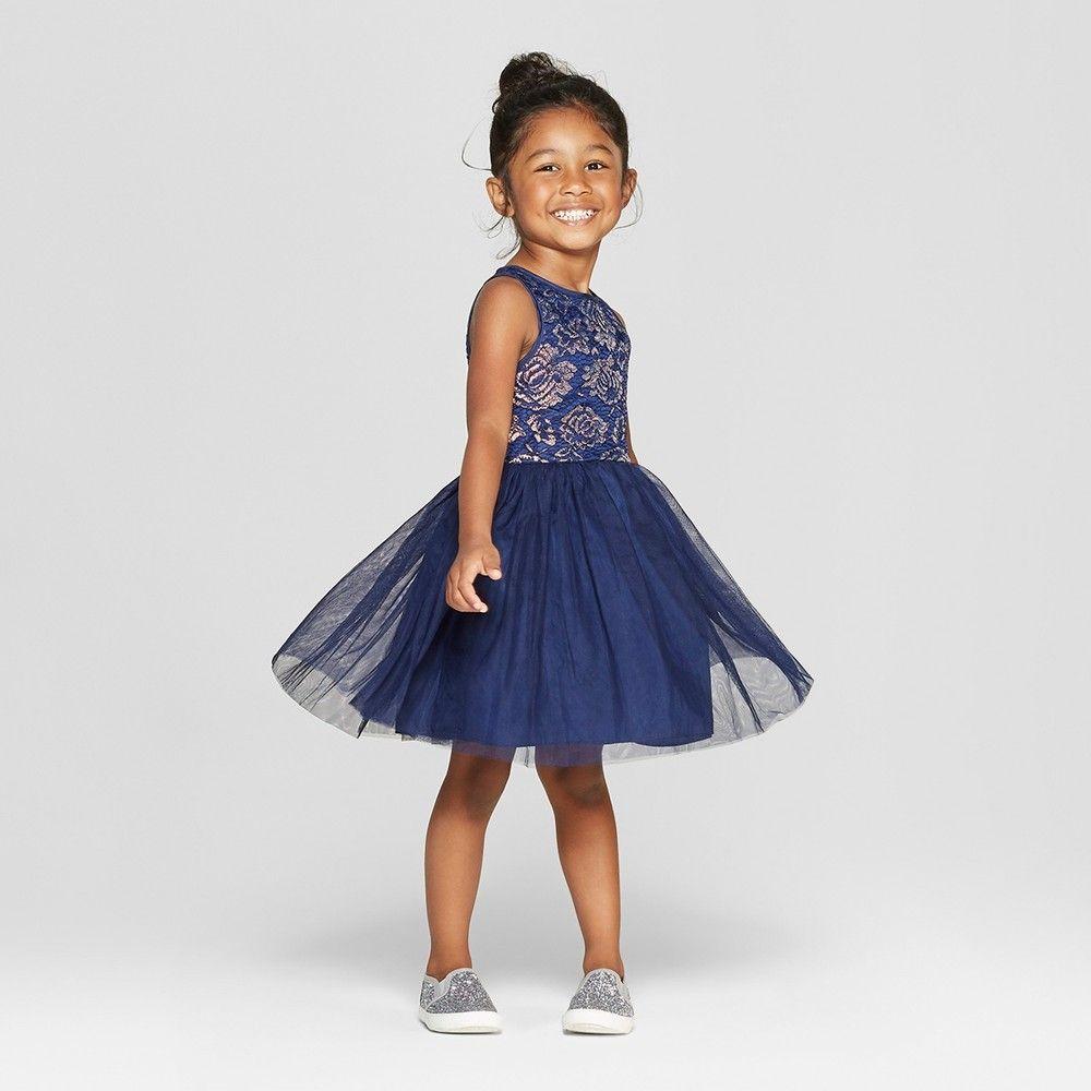 a9b7e850e0e Toddler Girls  Dropped Waist A-Line Dress - Cat   Jack Navy 5T