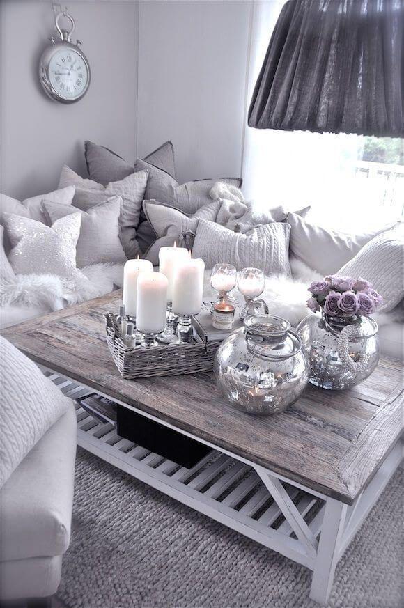 Silver White Grey Cozy Living Room Ideas Modern