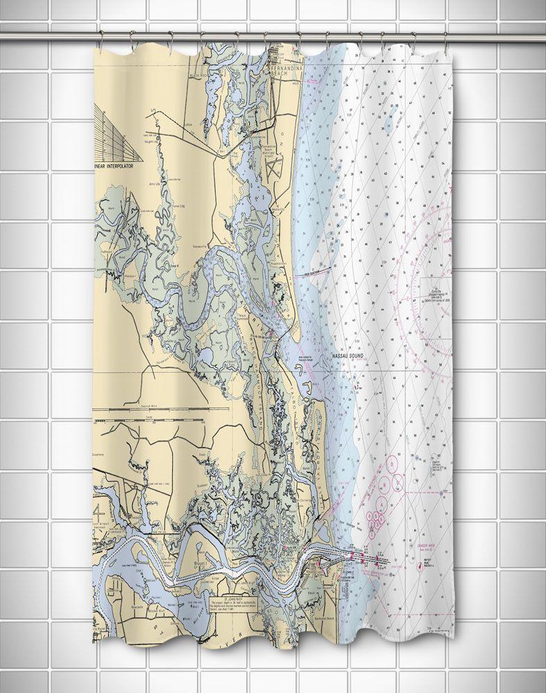 Fl Amelia Island Fl Nautical Chart Shower Curtain Nautical