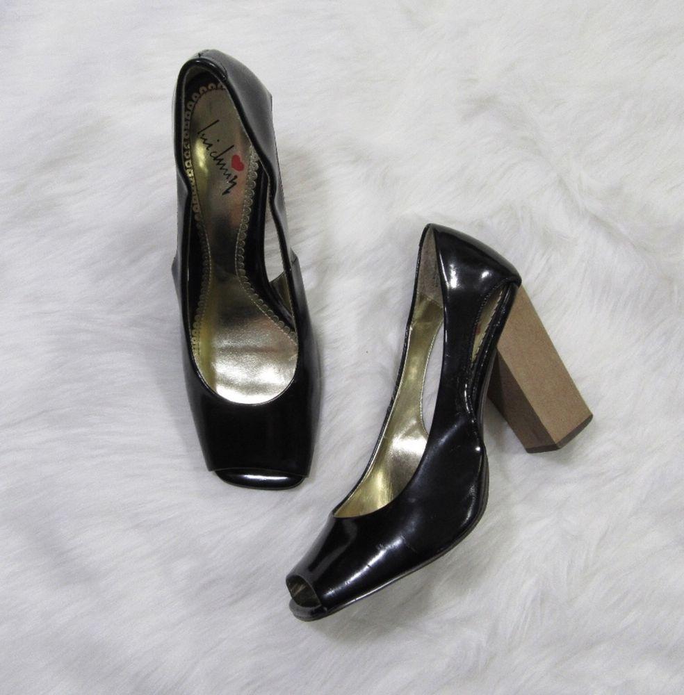 Lui Chung Patent Leather Square Peep Toe Wood Block Heel